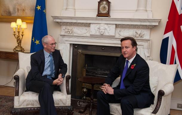 Herman Van Rompuy et David Cameron, à Londres, en 2012. © European Council/Flickr