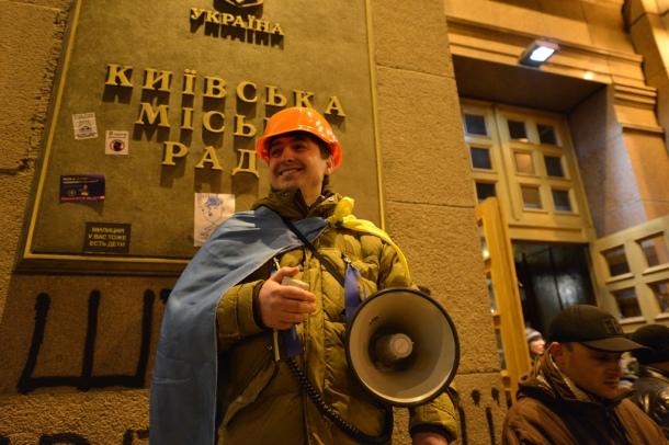 La mairie de Kiev, occupée par les manifestants, dimanche 1er décembre. © Ivan Bandura / Flickr