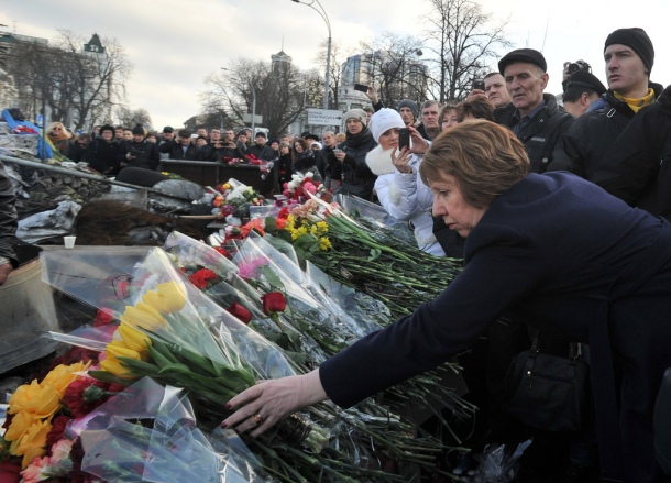 Catherine Ashton sur la place Maïdan, à Kiev, le 24 février 2014. © European External Action Service/Flickr