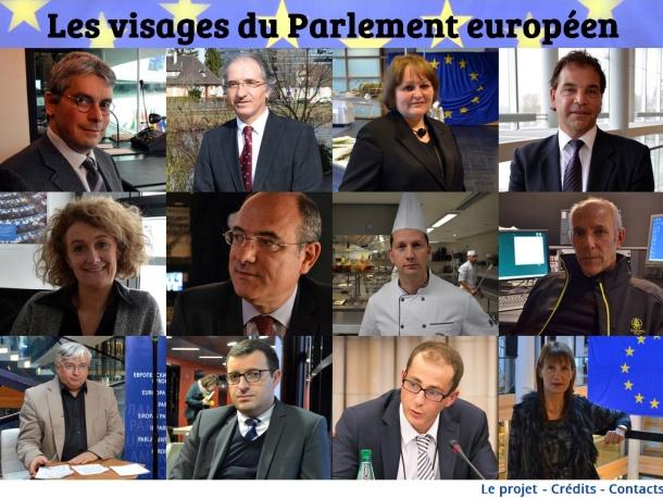 Ecran d'acceuil Les visages du Parlement européen